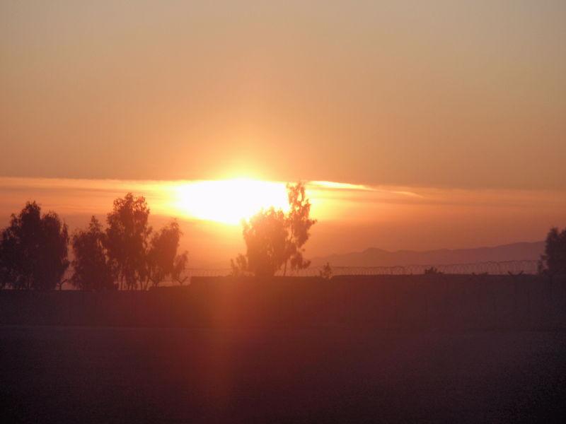 Sunrise over military base in Khost